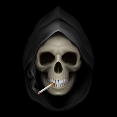 harm: Image of death with cigarette. Stop smoking, it kills.