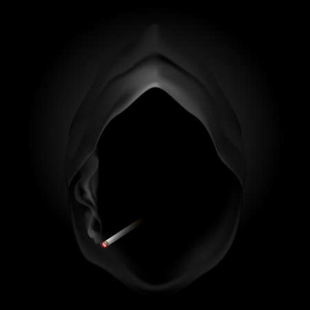 narcotics: Death image with cigarette. Give up smoking, it kills.