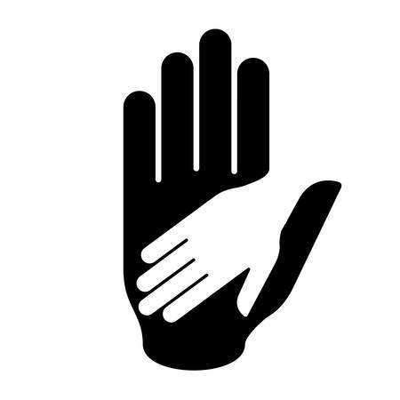 helper: Helping hand in black-and-white colors. Symbol of help, assistance and cooperation. Illustration