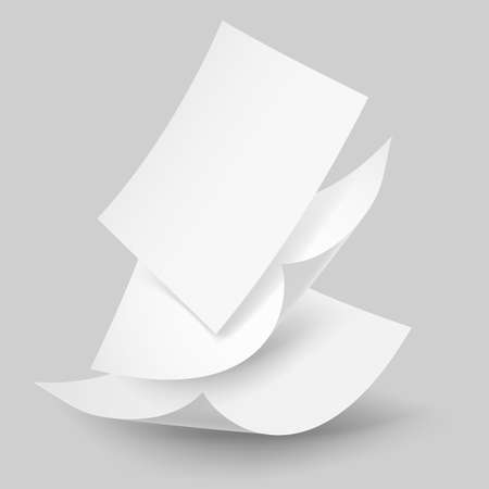 one sheet: Blank paper sheets falling down. Illustration on grey background. Illustration