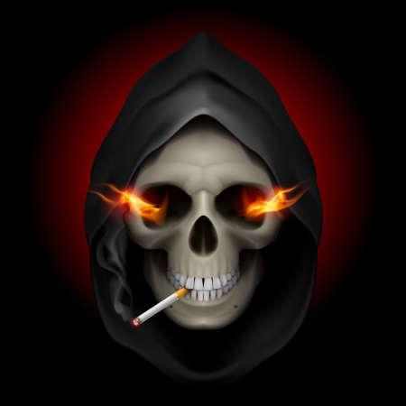 drogadiccion: Fumar mata: la imagen de la muerte con fuego en los ojos y con el cigarrillo.