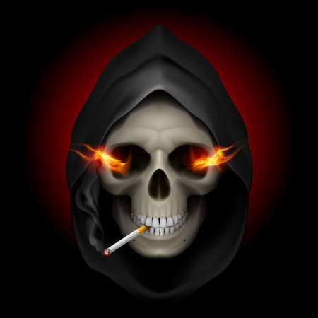 Smoking kills: death image with fire in the eyes and with cigarette. Vector