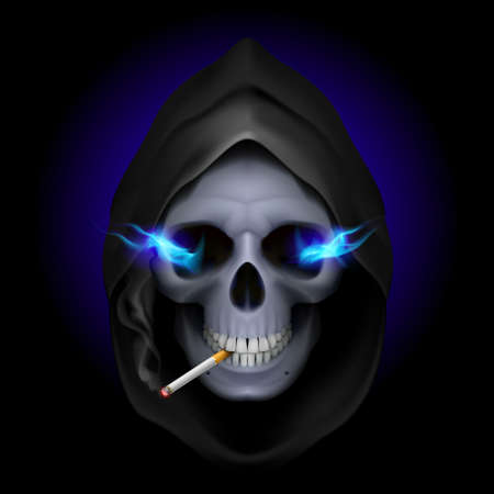 Smoking kills: death image with blue fire in the eyes and with cigarette. Vector