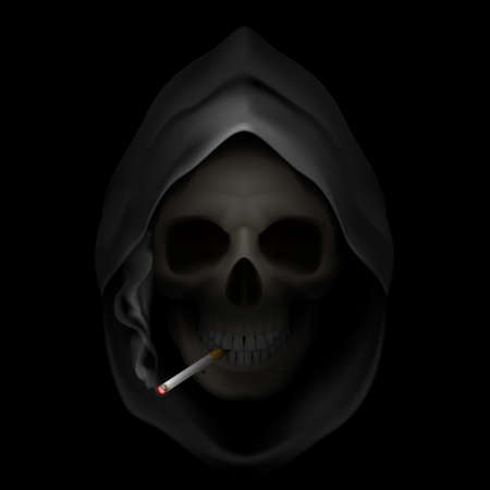 Death image with cigarette. Stop smoking, it kills.  Vector