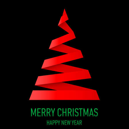 papery: Red paper Christmas tree in origami style on black background. Greeting card.