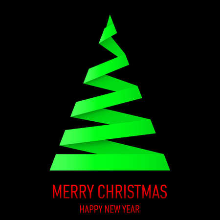 Green paper Christmas tree in origami style on black background. Vector