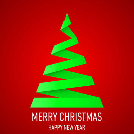 Green paper Christmas tree in origami style on red background. Greeting card. Vector