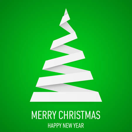 White paper Christmas tree in origami style on green background. Greeting card. Vector