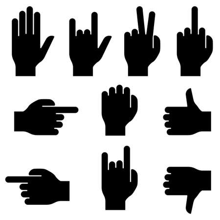 Set of hand gestures. Black silhouettes on white background. Vector