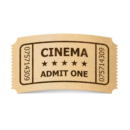 Retro Style Cinema Ticket Isolated On White Vintage Symbol Of