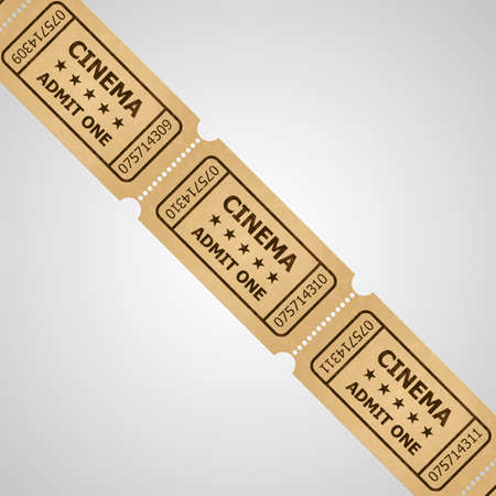 movie ticket: Three cinema tickets in retro style. Vintage symbol of film industry. Entertainment and leisure.