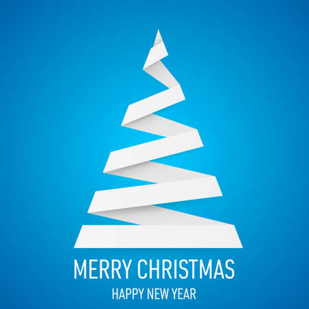 White paper Christmas tree in origami style on blue background. Vector