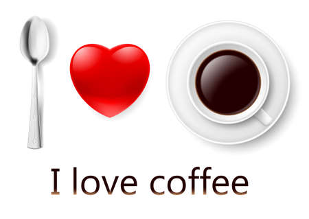 Spoon, heart and cup of coffee rendering I love coffee. Vector