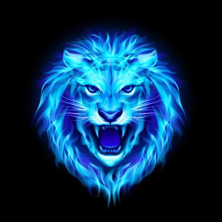 Hoofd van agressieve blauw brand leeuw geïsoleerd op zwart. Stock Illustratie