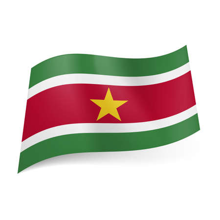National flag of Suriname: red stripe with golden star between white and green bands. Vector