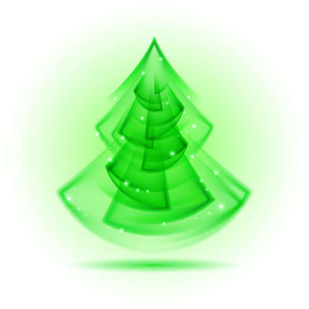 Green Christmas tree in fractal geometry style on white background. Vector