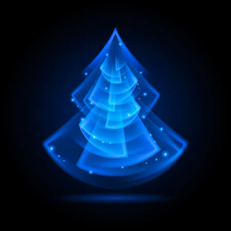 Blue Christmas tree in fractal geometry style on black background. Vector
