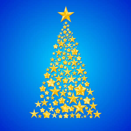 Abstract Christmas tree made of shiny golden stars on blue background. Vector