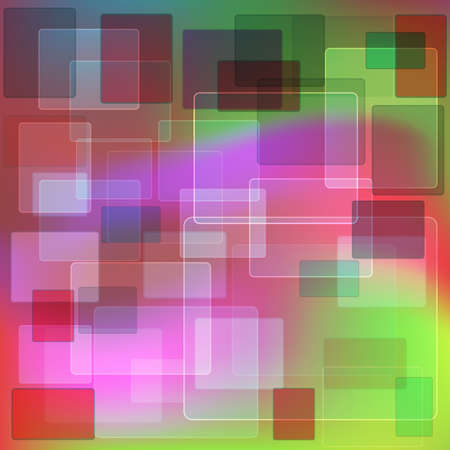 violet red: Abstract geometric background of transparent rectangles in shades of green, red and violet. Illustration
