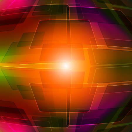 reflejo en espejo: Fondo geom�trico de colores, con un toque de color naranja brillante en el centro. Espejo de reflexi�n.