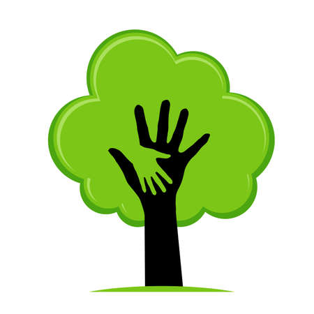 grow:  Helping hand as a green tree. Ecology concept: help nature.  Illustration