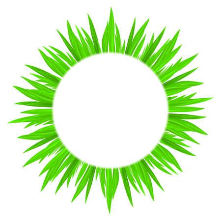 framing: White circle with spring green grass framing.