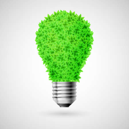 Bulb made of green leaves as concept of eco energy source. Illustration