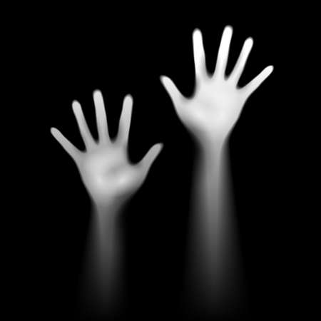 Two  luminant hands on black. Depression and help concept. Vector