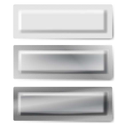 Set of three foil and plastic packages on white background. Vector