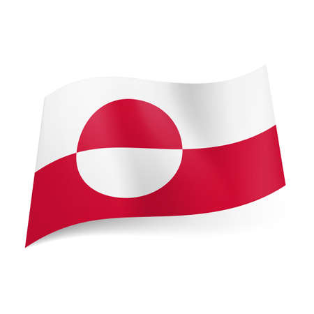 upper half: National flag of Greenland: white and red horizontal stripes with circle. Upper half of circle is red, lower is white.