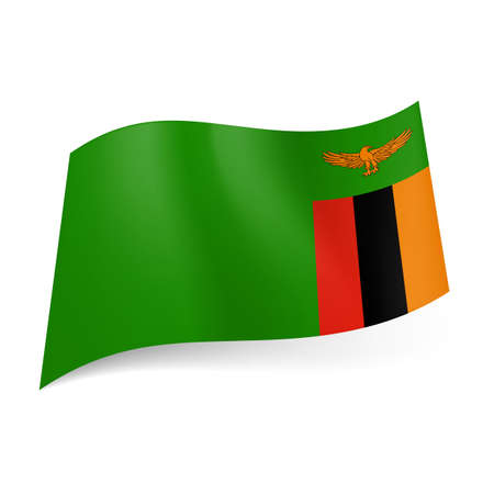 zambia: National flag of Zambia: orange eagle above vertical stripes of red, black and orange on the right side of green background. Illustration