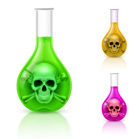 poison: Three vials with poison on white. Color variations.