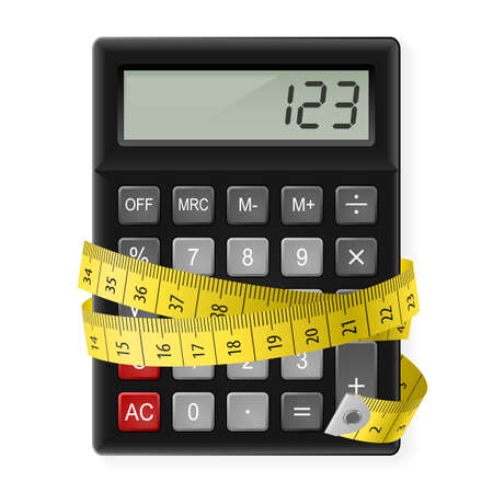 calorie: Black calculator with measuring tape as symbol of counting calories.