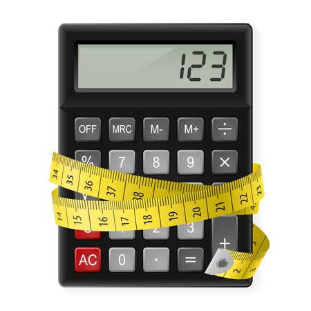 Calculadora negro con cinta métrica como símbolo de contar calorías.
