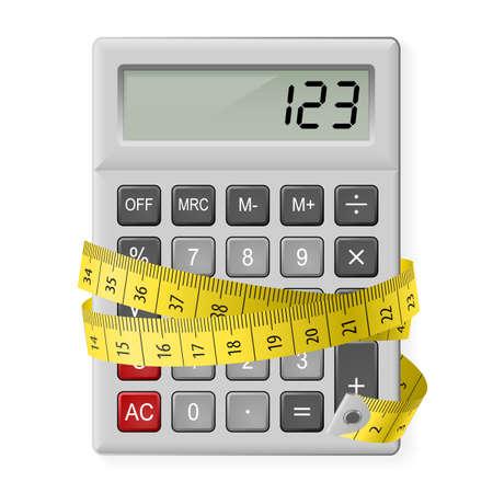 metro de medir: Calculadora blanca con cinta métrica como símbolo de contar calorías.