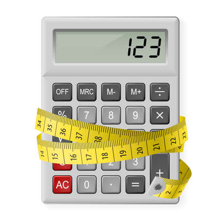 numbers counting: White calculator with measuring tape as symbol of counting calories. Illustration