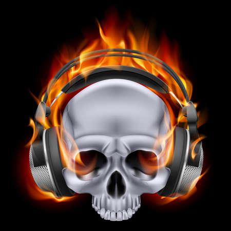 devilish: Flaming metal skull in headphones on black background. Illustration