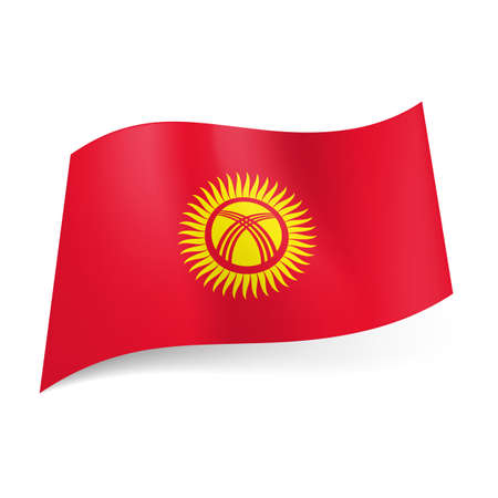 polish flag: National flag of Kyrgyzstan: yellow sun with crossed lines in centre on red background.
