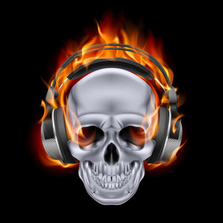 Flaming skull in headphones on black background. Stock Vector - 24680205