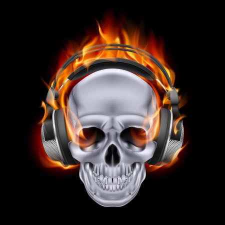 devilish: Flaming skull in headphones on black background.
