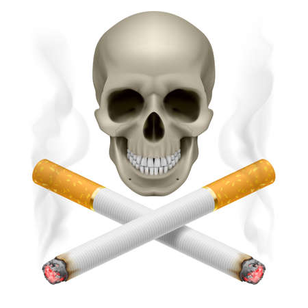 Skull with burning crossed cigarettes as  symbol of smoking danger. Vector
