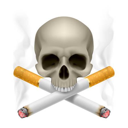 drogadiccion: Cráneo con los cigarrillos cruzados como símbolo de peligro de fumar. Vectores