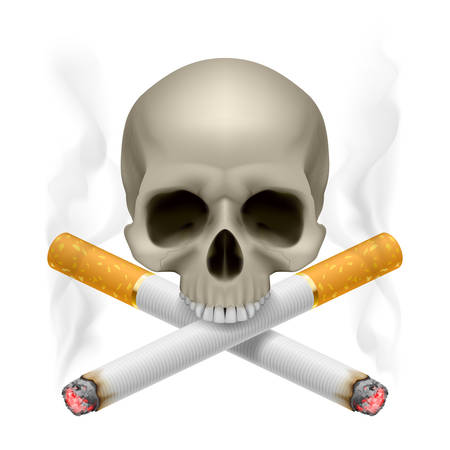 crossed cigarette: Skull with crossed cigarettes as symbol of smoking danger.