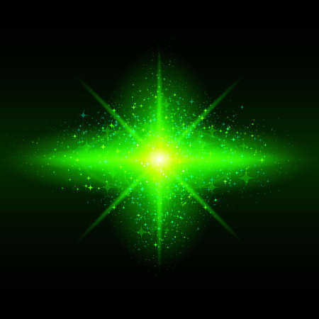 Green glowing galaxy with bright flare in centre on black background. Stock Vector - 24680209