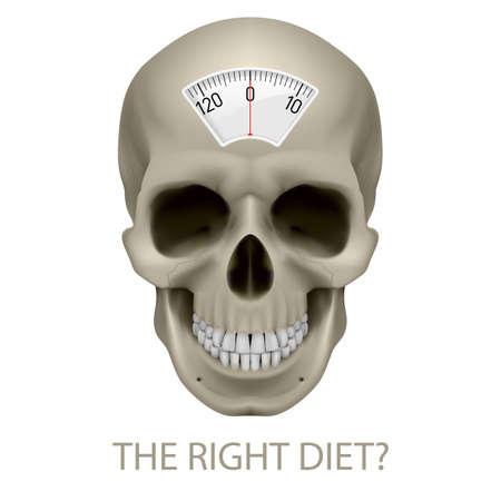bulimia: Skull with balance scale and text beneath as symbol of unhealthy diet. Illustration
