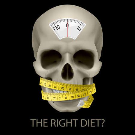 unhealthy: Cr�neo con balanza, cinta y el texto debajo de la medici�n como s�mbolo de la dieta poco saludable. Vectores