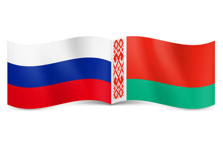 Russian and Belarusian flags together rendering union and cooperation. Stock Vector - 24680241