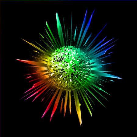 Explosion of colorful star with its fragments flying apart. Illustration on black background. Vector