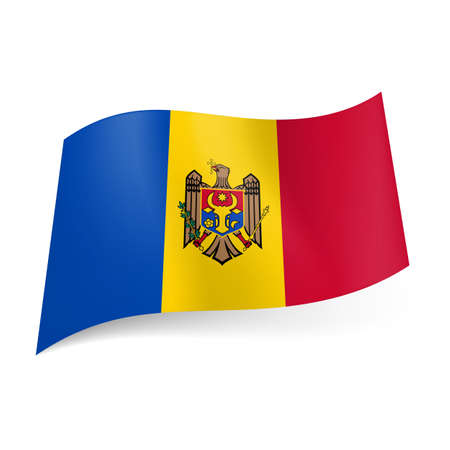 moldovan: National flag of Moldova: blue, yellow and red vertical stripes with coat-of-arms on central band Illustration