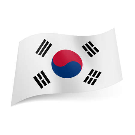 trigram: National flag of South Korea: blue and red yin and yang symbol with four black trigrams on white background